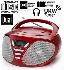 Dual P49 RED Boombox Radio FM Odtwarzacz CD